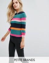 Noisy May Petite Multi Stripe Knitted Rib Jumper