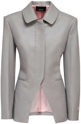 ANOUKI Faux Leather Single Breast Blazer