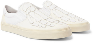 Amiri Skel Toe Leather-Appliqued Corduroy And Canvas Slip-On Sneakers