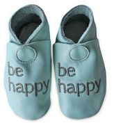 "Silly Souls Be Happy"" Leather Shoe in Blue"