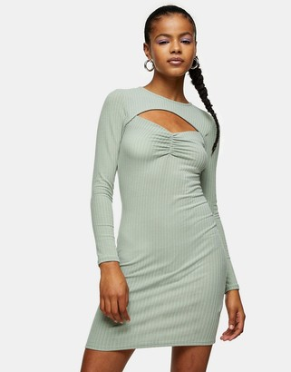 Topshop ruched bodycon dress with cut-out detail in khaki
