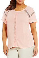 Peter Nygard Plus Heather Knit Lace Trimmed Tee