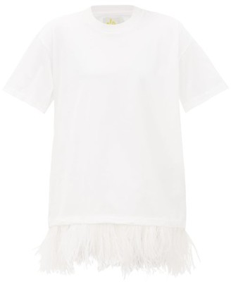 Marques Almeida Marques'almeida - Feather-hem Cotton T-shirt Dress - Womens - White