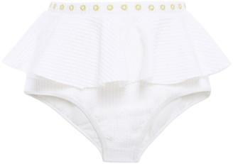 Duskii Ruffled Embroidered Ribbed High-rise Bikini Briefs
