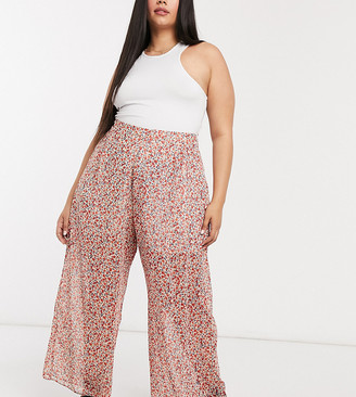 New Look Plus New Look Curve chiffon wide leg trouser in ditsy floral