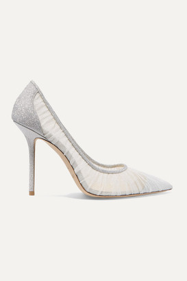 Jimmy Choo Love 100 Glittered Tulle And Canvas Pumps - Ivory