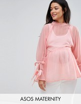 Asos Smock Top With Tie Sleeves