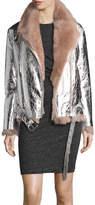IRO Metallic Leather Biker Jacket with Shearling Lining