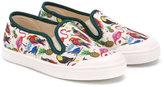 Pépé 'Tropical' print deck shoes - kids - Cotton/Leather/rubber - 20