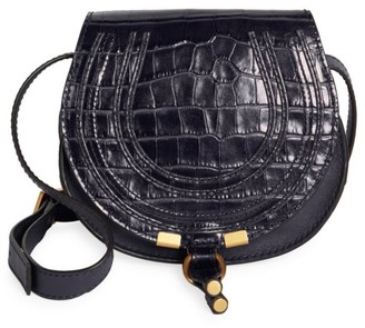 Chloé Marcie Croc-Embossed Leather Saddle Bag