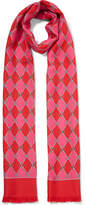 Gucci Fringed Printed Silk-twill Scarf