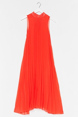 Nasty Gal Womens Flow With It Pleated Midi Dress - Orange - 4, Orange