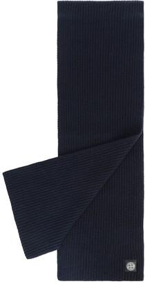 Stone Island Wool Knit Ribbed Scarf Blue Marine