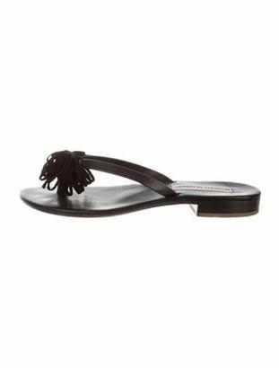 Manolo Blahnik Westy Leather Slides Black