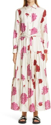 La DoubleJ Bellini Floral Long Sleeve Silk Maxi Shirtdress