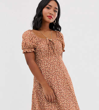 New Look Petite puff sleeve tea dress in pink ditsy floral