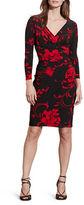 Lauren Ralph Lauren Floral Jersey Faux Wrap Sheath Dress