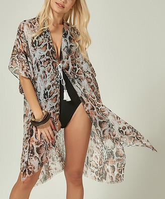 Simmly Women's Swimsuit Coverups Grey - Gray Animal Print Sheer Tassel-Tie Cover-Up - Women