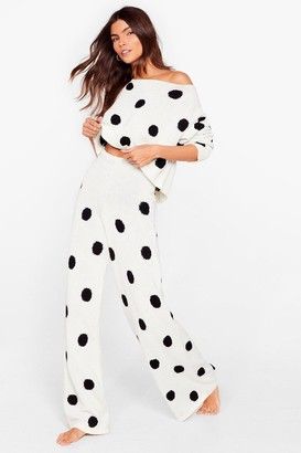 Nasty Gal Womens Polka Dot Leaving Our Bed Wide-Leg Lounge Set - White - S