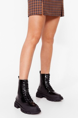 Nasty Gal Womens One of a Shine Patent Heeled Boots - Black