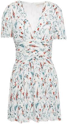 Maje Floral-print Plisse-georgette Mini Dress