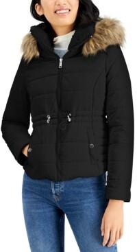 Maralyn & Me Juniors' Faux-Fur-Trim Hooded Anorak Puffer Coat