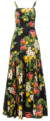 Borgo de Nor Cordelia Lemon Blossom-print Cotton Maxi Dress - Black Yellow