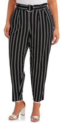 No Comment Juniors' Plus Size Belted Striped O-Ring Pant
