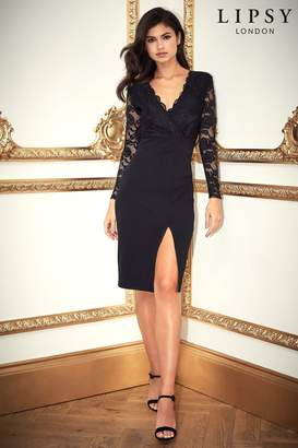 Lipsy Lace Top Bodycon Dress - 6 - Black