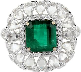 Artisan 18K White Gold Pave Diamond Cocktail Ring Emerlad Precious Stone Jewelry