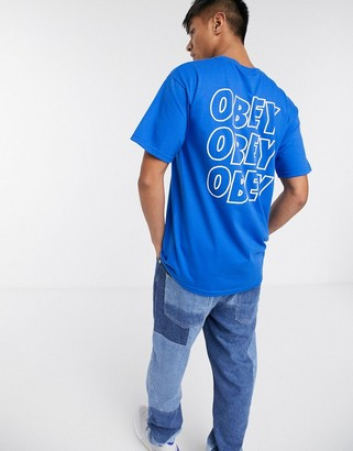 Obey Jumbled Eyes t-shirt in blue