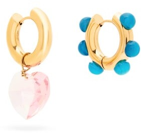 Timeless Pearly - Mismatched Quartz And Jasper Hoop Earrings - Womens - Pink Multi