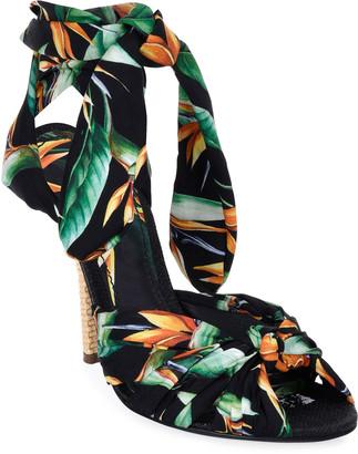 Dolce & Gabbana Flower Silk Twill Tie Up Sandals