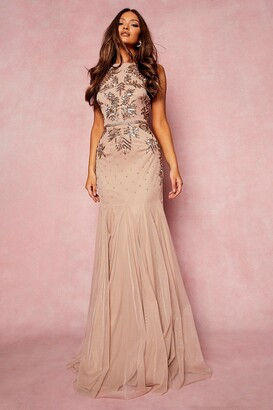boohoo Bridesmaid Hand Embellished Halter Maxi Dress