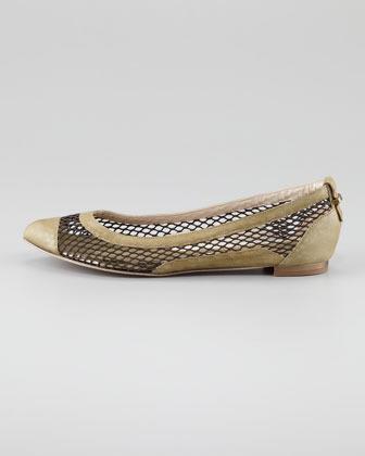 McQ Mesh & Leather Ballerina Flat, Moss