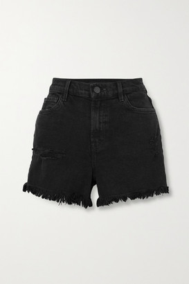 J Brand Jules Frayed Denim Shorts - Black