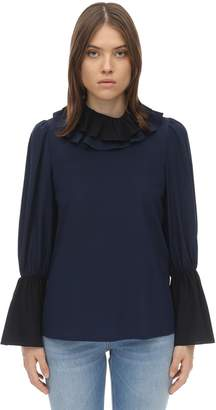Tory Burch RUFFLED COLLAR CHIFFON BLOUSE