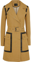 Belstaff Gateshead leather-trimmed flax-blend trench coat