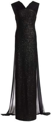 St. John Silk Chiffon Train Sequin Gown