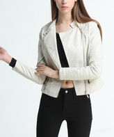 White Faux Leather Asymmetrical-Zip Jacket