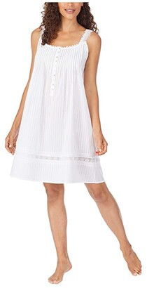 Eileen West Cotton Dobby Stripe Woven Sleeveless Short Nightgown (White) Women's Clothing