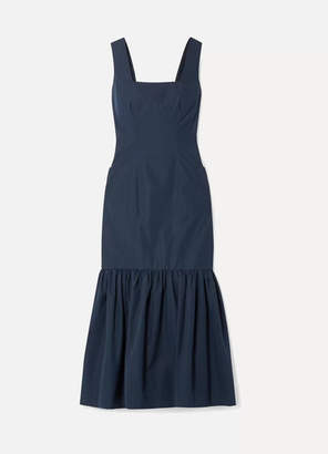 Derek Lam Ruffled Cotton-taffeta Midi Dress - Navy