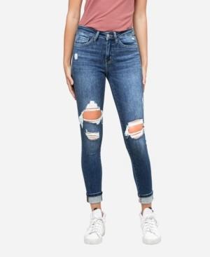 Flying Monkey Women's Mid Rise Distressed Cuffed Skinny Crop Jeans