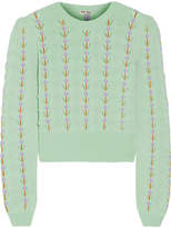 Miu Miu Pointelle-trimmed Cashmere Sweater - Mint