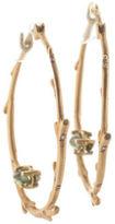Anthony Nak 18 Kt Yellow Gold Peridot Branch Hoop Earrings New