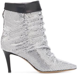 Pinko Metallic Slouchy Ankle Boots