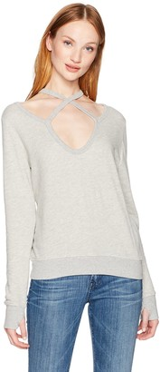 Pam & Gela Women's Rib Cross Neck Sweatshirt