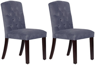 One Kings Lane Set of 2 Lea Tufted Side Chairs - Blue Velvet