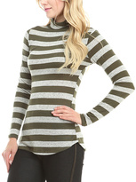 Celeste Olive Stripe Turtleneck Top