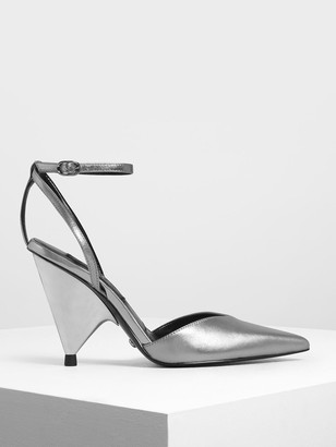 Charles & Keith Leather V-Cut Ankle Strap Cone Heels